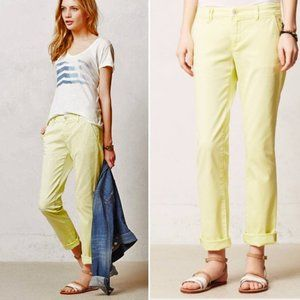 Anthro Pilcro Hyphen Neon Yellow Cropped Pants